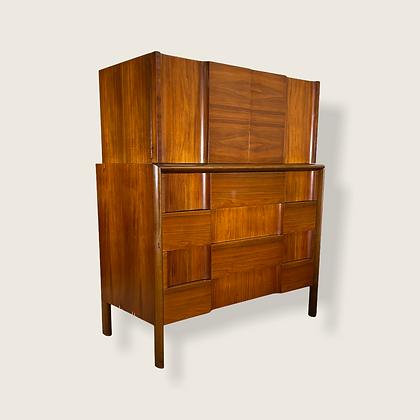 Mid-Century Swedish Modern Sculpted Highboy Dresser by Edmond Spence