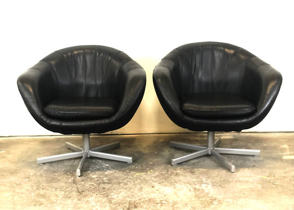"""Mid-Century Modern Leather Swiveling """"Pod"""" Chairs"""