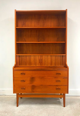 Mid-Century Danish Modern Teak Secretary Desk & Bookcase By BORNHOLMS