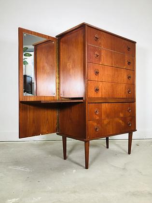 Mid-century Danish Modern Teak Vanity Dresser