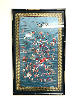 Silk Embroidered Wall Hanging of People During Chinese New Year