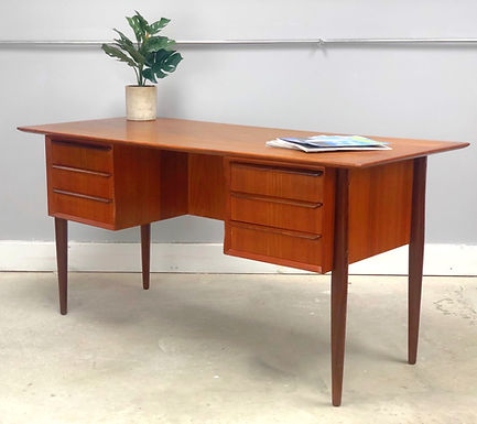 Mid-Century Danish Modern Teak Desk With Bookcase