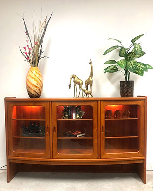 Mid-Century Modern Teak Bookcase with Glass Doors In Style of J.L. Moller