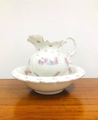 Antique Victorian Lois Porcelain Pitcher and Bowl