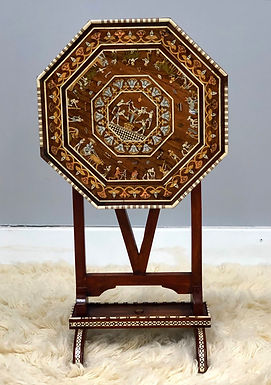 Vintage Exquisite Tilt Top Table W/ Copper & Mother Of Pearl Inlay