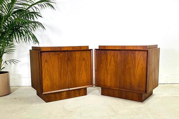 1970's Pair of Walnut Nightstands by Tobago