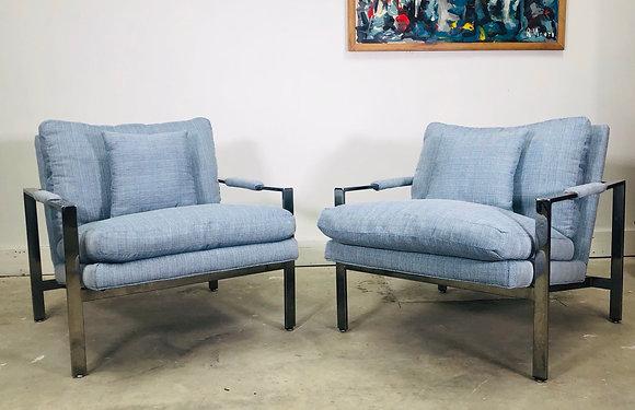 Pair of Milo Baughman Thayer Coggin Chrome Flat Bar Lounge Chairs