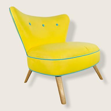 Mid-Century Modern Yellow Oversized Wingback Chair