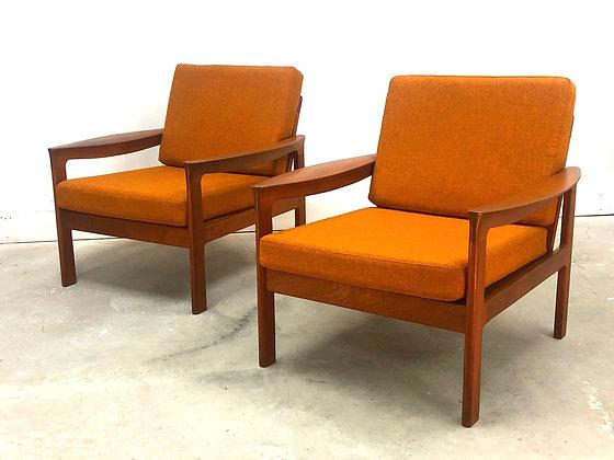 Set 2 Mid-Century Danish Modern Teak Komfort Lounge Chairs