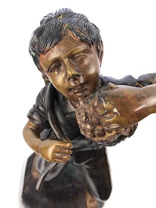 Antique Bronze Sculpture Of Boy
