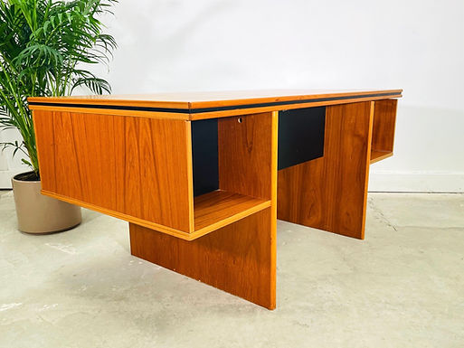 Danish Modern Teak Executive Desk with Bookcase by Bent Silberg Mobler