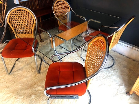 Incredible 1970S Mid Century Chrome Wicker Dining Table W 4 Chairs Cjindustries Chair Design For Home Cjindustriesco