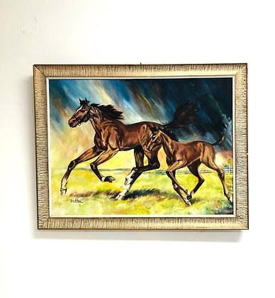 Oil on Canvas Of Horses Galloping