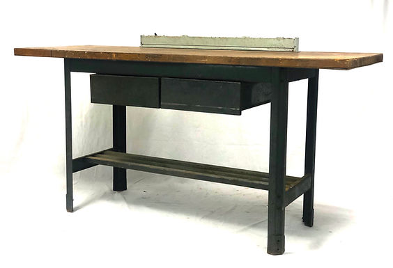 Antique Industrial Workbench Table Kitchen Island Study Desk With Two Drawers