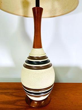 Mid-century Modern Ceramic & Teak Table Lamp