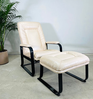 Vintage Leather Recliner & Ottoman