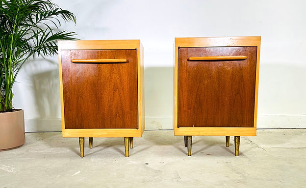 Pair of Mid-Century Modern Maple / Walnut Nightstands