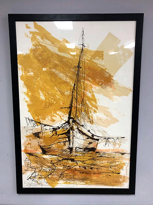 Large Mid-Century Abstract Lithograph Of A Ship Signed