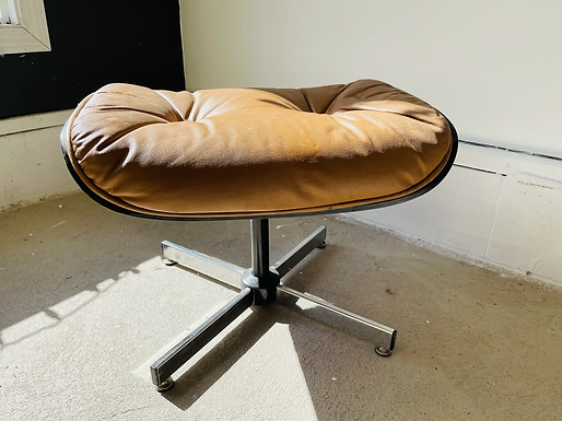 Mid-Century Modern Eames Style Leather Ottoman For Lounge Chair
