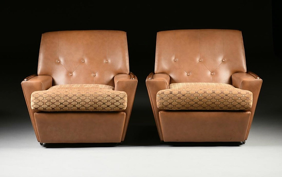 Pair Of Italian Mid-Century Modern Leather & Velvet Lounge Chair