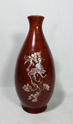 Vintage Korean wood Lacquered Vase With Inlaid Mother of Pearl