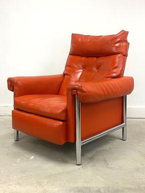 Mid-Century Modern Recliner Lounge Chair On Chrome Frame