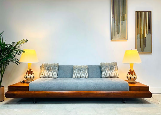 Rare ADRIAN PEARSALL 1709' Platform Sofa with Attached End Tables