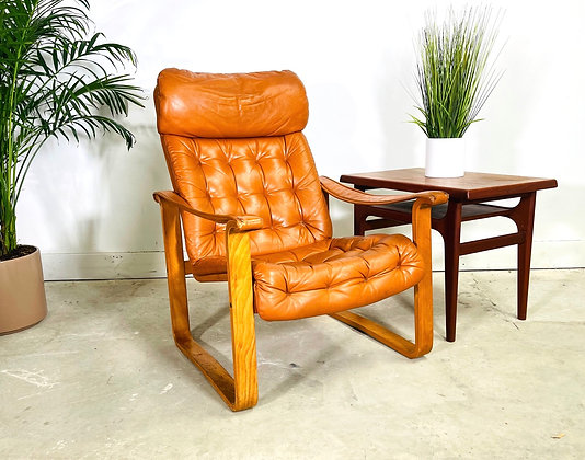 Mid-Century Danish Modern Leather Armchair by OY BJ Dahlqvist
