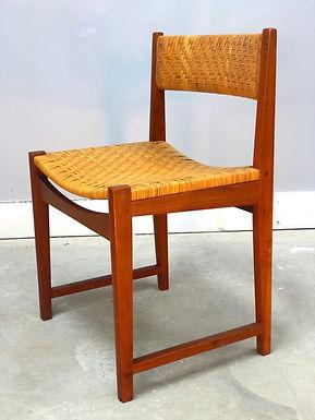 Danish Modern Teak & Wicker Side Chair by Peter Hvidt