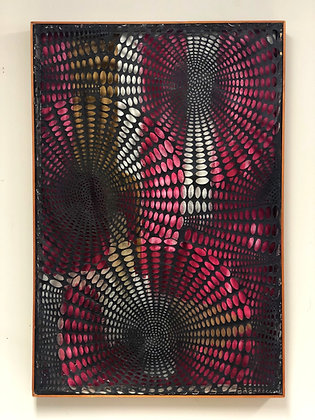 Vintage 1960s Psychedelic Abstract Painting With Cut-Out Canvas Signed