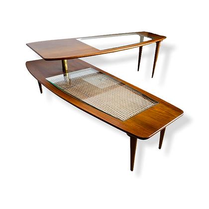 Fabulous Mid-Century Modern Switchblade Walnut Coffee Table
