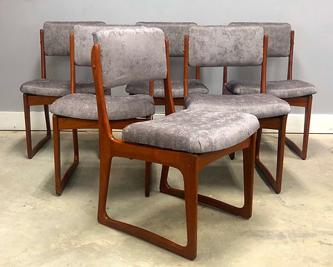 Set of 6 Danish Modern Sculptured Teak Dining Chairs