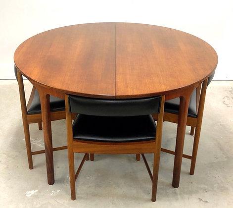 Mid-Century Modern Round Walnut Table W/ Set 4 Chairs