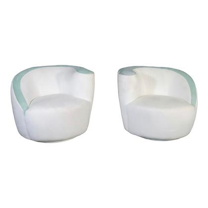 Pair Vladimir Kagan Style Nautilus Swiveling Lounge Chairs