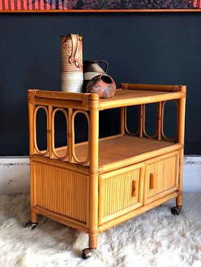 Vintage Mid-Century Modern Wicker Rattan Bamboo Bar Serving Cart