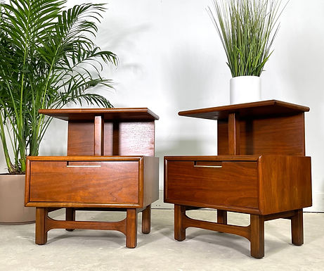 Pair Mid-Century Modern Two Tier Walnut Nightstands