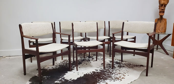 Set (7) Poul Volther Frem Rojle Dining Chairs Denmark c 1960