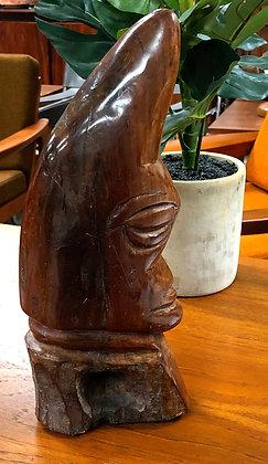 Mid-Century Modern Hand-Carved Wood One Eye Sculpture