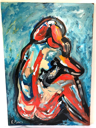 R. Monti Abstract Oil on Canvas