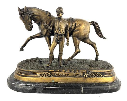Delaware Park Racing Horse Bronze Sculpture