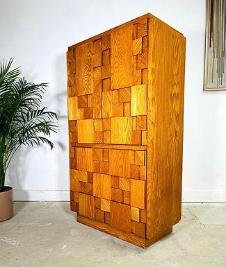 Mid-Century Modern Lane Furniture Woodblock Brutalist Armoire