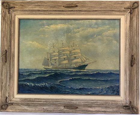 Nautical Scene Oil on Canvas