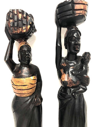 Pair of Hand Carved Sculptures