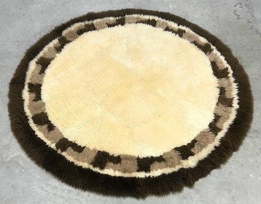 Mid-Century Modern Round Shag Rug Thick Wool Pile