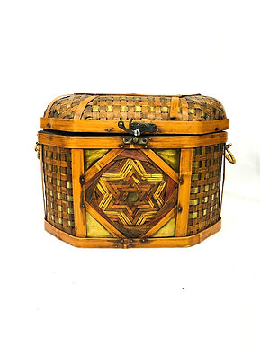 Handmade Copper & Wood Basket with Lid