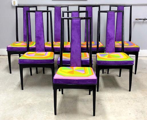 Set 8 Mid-Century Modern Parzinger Style Dining Chairs By John Stuart