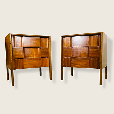 Mid-Century Swedish Modern Sculpted Nightstands by Edmonds Spence - Pair