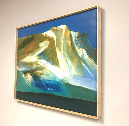 Abstract Oil On Canvas Painting Of Snowy Mountain Side Signed