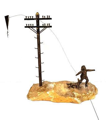 Vintage Mid Century Signed Curtis Jere Bronze Sculpture Boy Flying Kite W/Dog