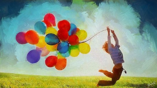 Enfant qui joue avec des ballons symbolisant la Joie